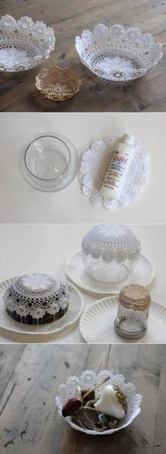 ■小物入れ レースの立体感を感じる素敵な小物入れです。  ドイリーのサイズに合わせて、作りたいお皿の型となるものを用意します。 水溶性ボンドを水で溶いたものにドイリーをしっかりと浸して、型の上にかぶせるようにして形を整えます。 丸一日しっかりと乾かしたら型からはずして完成です。
