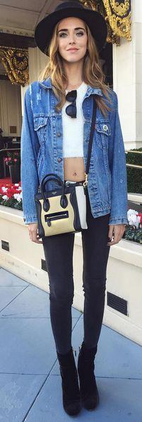 Blogger Chiara Ferragni of The Blonde Salad is ready to explore San Francisco in her denim Trucker jacket and dark denim.