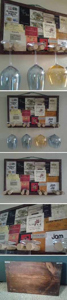 Bulletin Board or picture frame, decorated with old wine labels. The best part is the wine corks used for wine glass holders. I'd definitely hollow out the wine corks and glue in a small, wooden dowel through both corks, just for stability. OR...I have some plastic wine glasses that look real, could hang those instead of the glass ones.