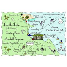 Custom Wedding Map - Full Colour Illustration