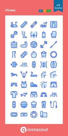 Fitness  Icon Pack - 49 Colored Outline Icons Fitness Icon, Png Icons, Icon Pack, Icon Font, Outline, Fonts, Packing, Gym, Drawing