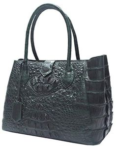 Authentic M Crocodile Skin Womens Hornback Hobo Tote Huge Snap Bag Green Handbag