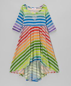 Take a look at this Rainbow Stripe Hi-Low Dress - Toddler & Girls by Sofi on #zulily today!
