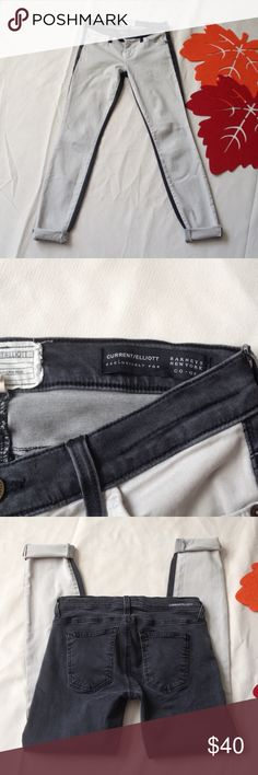 """Current/Elliott two tone skinny jeans Two tone skinny jeans in good condition, 28.5"""" long, cotton blend, looks great with boots & oversize sweater Current/Elliott Jeans Skinny"""