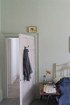 At Remodelista, we're longtime devotees of UK premium paint brand Farrow & Ball. Farrow & Ball colors are among the most complex we'v Farrow Ball, Farrow And Ball Paint, Farrow And Ball Blue Gray, Farrow And Ball Bedroom, Cromarty, Beach House Bedroom, New Paint Colors, Ball Lights, Yurts