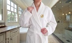 Groupon - Monogrammed Luxury 100% Turkish Cotton Bathrobe in [missing {{location}} value]. Groupon deal price: $42.99