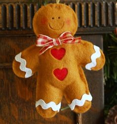 Handmade Felt Gingerbread Man Xmas Decoration