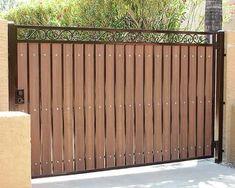 47 ideas for backyard fence gate garage Iron Fence Gate, Wrought Iron Driveway Gates, Wood Fence Gates, Fence Gate Design, Front Gate Design, Main Gate Design, Fence Doors, House Gate Design, Entrance Gates
