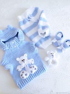 """Плюшевый костюмчик """"Мишка"""" – купить на Ярмарке Мастеров – FYMQPRU   Жилеты, Иркутск Baby Cardigan, Cardigan Bebe, Knit Baby Dress, Baby Pullover, Knitted Baby Clothes, Crochet Cardigan, Baby Booties Knitting Pattern, Baby Boy Knitting, Knitting For Kids"""