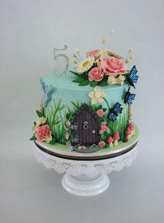 A Sweet Purpose - Enchanted Garden themed birthday cake. Smooth...: