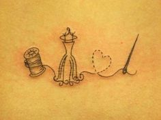 delicate spool dressform heart needle thread. Cute.  Just thinking of doing a spool of thread and came across this tattoo a couple minutes later