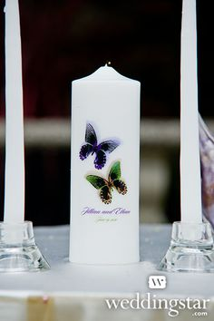 Beautiful Butterflies Personalized Pillar Candle from our Contemporary Garden Style Lookbook {garden theme wedding, butterflies, #butterfly, custom, personalized/personalised candle}