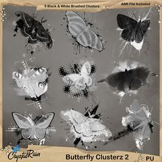 Some more Butterfly brush clusters to jazz up you artwork.. Image pack and an ABR file..This set contains:  9 Clustered Butterfly Brushes in ABR format    9 Clustered Butterfly PNG format images in Monochrome    all created in 300dpi