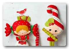 :-) Candy and candy cane elves ~ Softie Pattern Ice cream softies Softies, Plushies, Felt Christmas Ornaments, Christmas Crafts, Christmas Tree, Xmas, Softie Pattern, Felt Fabric, Diy Weihnachten