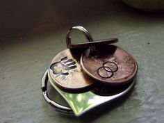 lucky Us Keychain made of copper heart with 3 by patsdesign