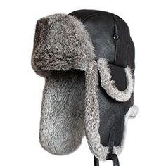 Mens Lamb Sheep Leather Rabbit Russian Fur Aviator Hat Winter Soviet Fur  Ushanka Trapper Hat For d3c8dcb1fd06
