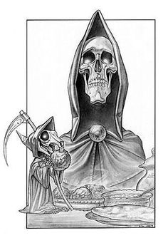 Death and Death of Rats from DiscWorld. (Alfred and Binky the horse are sadly not featured. Nore are any cats. Dark Fantasy Art, Fantasy Series, Dark Art, Discworld Tattoo, Terry Pratchett Discworld, Oh The Humanity, Book Tattoo, The Grim, Book Of Life