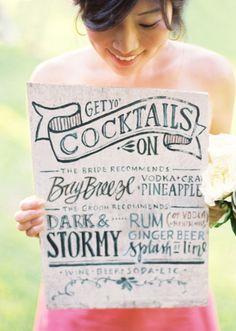 fun drink menu, via #stylemepretty.com