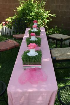 GORGEOUS - Garden Tea Party Baby Shower - Beautiful wheat grass centerpieces and great party food ideas!!