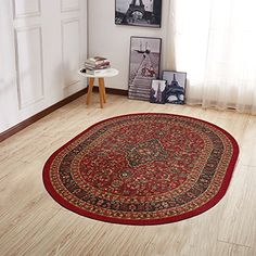 Ottomanson Ottohome Collection Contemporary Leaves, Bordered, Floral, Multi-Color and Oriental Designs Modern Oval Area and Runner Rug with Non-Skid Rubber Backing, X X Red Area Rugs For Sale, Rug Sale, Oriental Design, Oriental Rug, Rug Placement, Sr500, Oval Rugs, Saag, Rug Texture