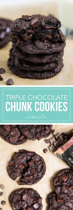 Soft and chewy triple chocolate chip cookies. Made with semi-sweet chips, chocol… Soft and chewy triple chocolate chip cookies. Made with semi-sweet chips, chocolate chunks and cocoa powder. A chocolate lovers dream cookie! Cookie Desserts, Just Desserts, Cookie Recipes, Delicious Desserts, Dessert Recipes, Yummy Food, Winter Desserts, Baking Cookies, Brownie Recipes