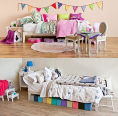 love this bunting and patchwork inspired creative kid space! perfect for little kids or nursery...