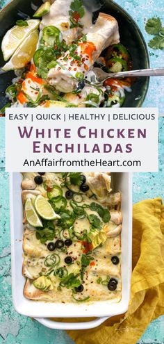 These easy white chicken enchiladas are so delicious, healthy, and made without cream cheese! The ultimate dinner that will be ready in less than an hour. #recipe #easy #healthy #whitechickenenchiladas #anaffairfromtheheart Best Mexican Recipes, Duck Recipes, Real Food Recipes, Chicken Recipes, Yummy Food, Healthy Recipes, Sandwich Sides, Rice Wraps, White Chicken Enchiladas
