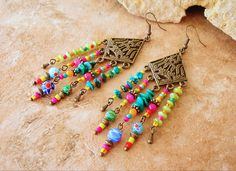 Boho Beaded Earrings, Long Chandelier Earrings, Colorful Beaded Earrings, Hippie Fringe, Original Handmade Bohemian Jewelry by Kaye Kraus by BohoStyleMe on Etsy