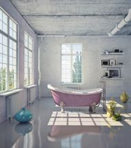 Cute yet industrial bathroom with open space and big windows Industrial Bathroom Design, Industrial Style, Pink Baths, Green Wallpaper, Big Windows, Home Upgrades, Shower Remodel, Beautiful Bathrooms, Tile Design