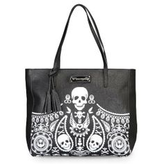 Embossed faux leather tote bag with tassels. printed black and white bandana pattern. #InkedShop