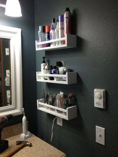 10 Ways to Squeeze a Little Extra Storage Out of a Small Bathroom. Hang spice racks (like the IKEA BEKVAM shown here) on the wall to organize makeup. Small Bathroom Storage, Ikea Bathroom Shelves, Bathroom Makeup Storage, Diy Makeup Storage, Diy Storage For Small Spaces, Small Shelves, Ikea Shelves, Floating Shelves, Kitchen Storage
