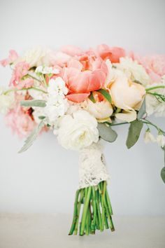 Peach, pink and cream bouquet | Classic Georgia Wedding by Harwell Photography - Southern Weddings Magazine