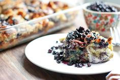 This delectable Wild Blueberry Stuffed French Toast casserole serves up crunchy & creamy flavor perfection! Get the recipe at Wild About Blueberries.