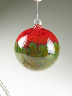 Blown Glass Ornament Ball - Red and Gold Blossom