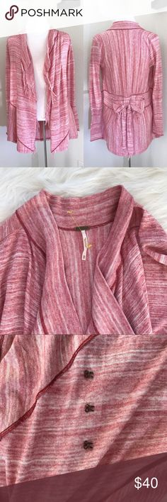 """Free People Take a Bow Cardigan .03 03.     Free People take a bow fringe cardigan in strawberry. In good pre-owned condition. Clasps pictured.  Size XS  Approx. Measurements length front 27"""", back length 32"""" pit to pit 16.5"""" pit to cuff 19"""" Free People Sweaters Cardigans"""