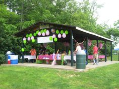 Rent a shelter at your local park for your childs birthday. Easy clean up and lots of outdoor fun!