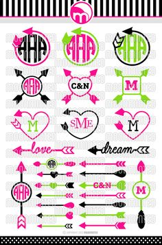 Arrow SVG Cut Files - Monogram Frames for Vinyl Cutters, Screen Printing, Silhouette, Die Cut Machines, & More