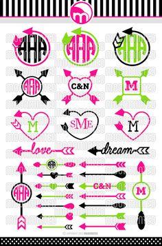 Arrow SVG Cut Files  Monogram Frames for Vinyl by MoonMinted