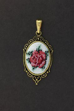 "Embroidered pendant ""Coral Rose"" Vintage"