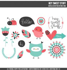 Hey Sweet Stuff Digital Clipart Clip Art Illustrations - instant download - limited commercial use ok