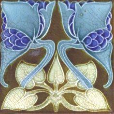 Art Nouveau Reproduction Ceramic Decorative Wall tile 4.25 X 4.25 inches #12 in Home & Garden, Home Décor, Tile Art | eBay