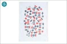뽀룻카야무 주방 수건, polkka jam, nappeja ja rullia, 실타래와 단추, 티 타올, 핀란드, 북유럽 디자인