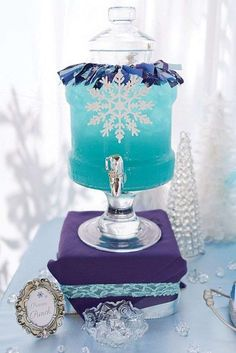 Frozen birthday party drinks! See more party planning ideas at CatchMyParty.com!