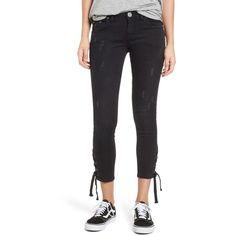 Women's One Teaspoon Freebirds Side Tie Crop Skinny Jeans ($149) ❤ liked on Polyvore featuring jeans, black paris, ripped jeans, denim skinny jeans, cropped skinny jeans, mid rise jeans and ripped skinny jeans