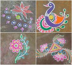 Margazhi Kolam or Rangoli Designs Easy Rangoli Designs Diwali, Rangoli Simple, Free Hand Rangoli Design, Rangoli Designs With Dots, Rangoli Designs Images, Mehndi Art Designs, Beautiful Rangoli Designs, Diwali For Kids, Diwali Craft
