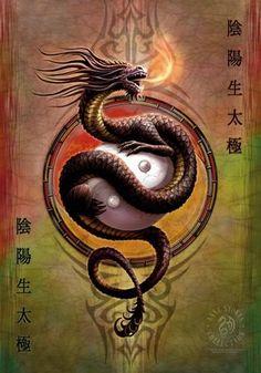Buying Choices: Zen Dragon Ying Yang Pop Art Poster 24 x 36 inches Anne Stokes, Yin Yang Tattoos, Chinese Dragon, Chinese Art, Fantasy Kunst, Fantasy Art, Ying Yang, Yin Yang Art, Mini Poster
