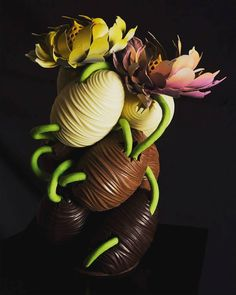 """from The Little Nell in the USA arrived at 's with this : """"Spring reborn"""" Chocolate Cacao, Chocolate Coins, Chocolate Heaven, Chocolate Art, Homemade Chocolate, Chocolate Pastry, Chocolate Showpiece, Plate Presentation, Chocolate Sculptures"""
