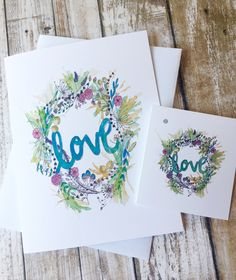 """Watercolour note card and matching gift.  """"LOVE""""  floral wreath. Great for any occasion Watercolor Cards, Watercolour, Matching Gifts, Sell On Etsy, I Am Happy, White Envelopes, Note Cards, I Card, Gift Tags"""