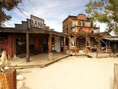 Pioneertown, built in 1946 as a live-in western movie set. Mock gunfights and other Old West demonstrations occur on Mane Street from April to October.