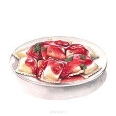 Food Art Painting, A Food, Food And Drink, Cute Food Art, Food Sketch, Cute Food Drawings, Watercolor Food, Pasta, Food Illustrations
